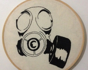 Gas Mask Embroidery 7""