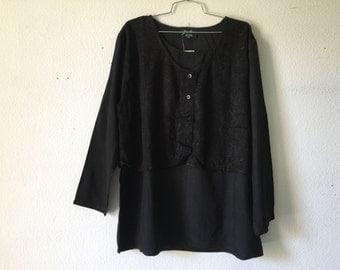 Vintage Blouse -  Loose Layered Top Sheer Black
