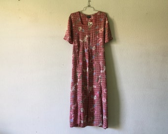 Vintage Dress - Grunge Floral Short Sleeve Long Maxi Tied at the Back