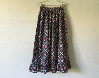Vintage 70s Elastic Waist Long Maxi Skirt