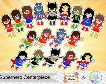 18 Printable Superhero Girls Centerpiece Instant Download Superhero Cake Topper Superhero Girl Table Centerpiece Little Girls Superhero 0031
