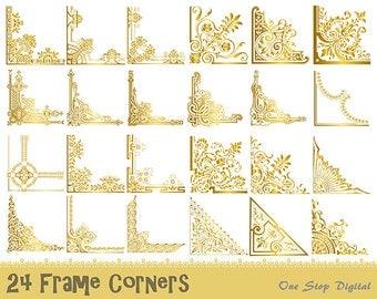 24 Gold Vintage Frame Corner Digital Clipart, Gold Flourish Swirl Border Corner Frame Clip Art, Gold Invitation Frame Corner Clipart 0397