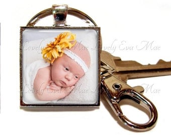 Personalized Keychain, Custom Keychain, Photo Keychain, with Clip, Key Fob, Key Ring, Keyring, Square, Custom Photo, Personalized gift