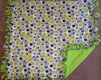 Fleece Double-Sided Gray, Green, Blue, Navy and White Polka Dot Blanket