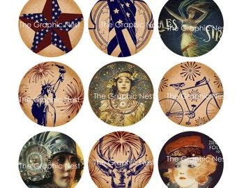 15 (1x1) inch Americana Circles. Digital download.
