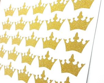 50+ Glitter (no shed) gold tiara stickers for birthday invitation, envelope seals, journal or planner stickers, product label, or decoration
