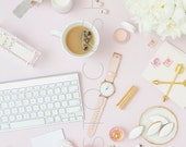 Styled VERTICAL Stock Image | Pink on Pink Desktop | Digital Image | Product Photography