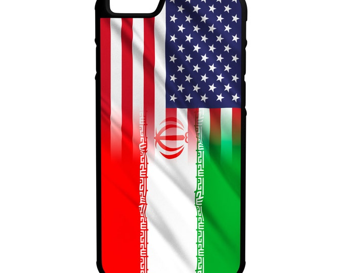 American Iran Flags iPhone Galaxy Note LG HTC Hybrid Rubber Protective Case