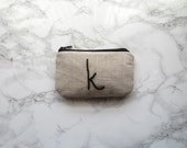 Personalized beaded pouch, card holder, black beaded, linen wallet, monogram, coin purse, lucse