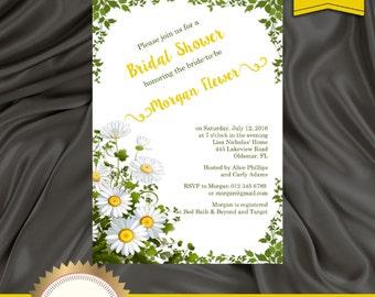 Rustic Bridal Shower Invitation, Daisies Invitation, Floral Bridal Shower Invite, Rustic Invitation - Printable, DIY, Digital File