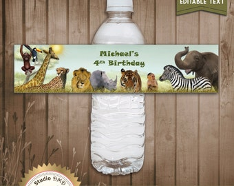 Printable Jungle Animal Safari Water Bottle Labels, For Boy, Digital File - EDITABLE text - DOWNLOAD Instantly - Microsoft® Word Format