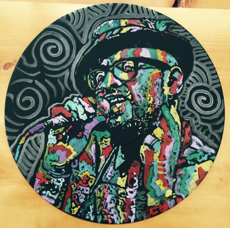 Custom Pop Art Painting On Vinyl Record By Matt Pecson