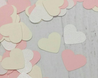 500 Shimmery White Confetti - Blush Pink Heart Confetti - Ivory and White Wedding Table Scatter - Little Girl's Party Decor