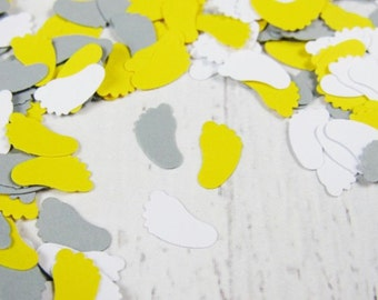 1000 Gray Yellow White Baby Shower Confetti - Yellow Baby Feet Confetti - Grey and White Sprinkle