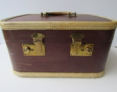 Vintage Mid Century Red Maroon Over Night Case - Luggage - Makeup Case -