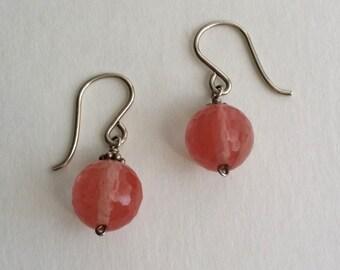 Amazing Vintage 925 Sterling Silver Crystal Bead Hook Dangle Earrings