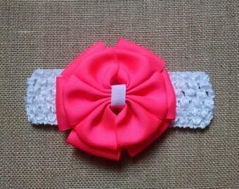Hot Pink Headband, Baby Headband, Baby Bow Headband, Baby Hair Accessory, Infant Headband, Girls Hairbow, Toddler Hairbow, Pink Hairbow