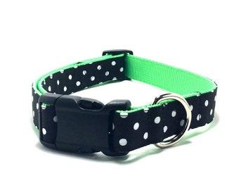 Green Polka Dot Dog Collar, Green Polka Dot Cat Collar, Bright Green Dog Collar, Halloween Dog Collar, Holiday Cat Collar, Holiday Dog