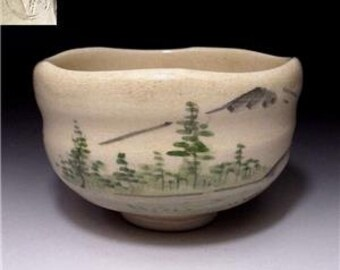 Vintage Japanese Tea Bowl, Raku Ware, Mountain FUJI