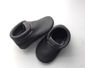 Charcoal Leather Moccasins