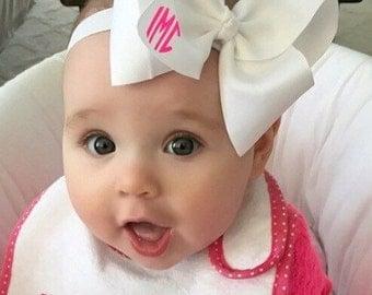 Monogram Baby Headband - Stretchy HeadBand with Bow - Initials - Baby Gift