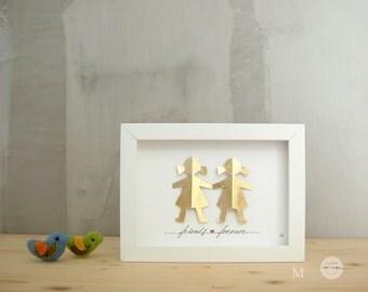 best friend Gift sister - Mom Gift - Paper sculpture 3D - gold-leaf - Art Frame