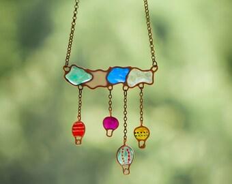 Ballon necklace. Sky necklace. Cloud necklace. Summer necklace. Hot air balloon.