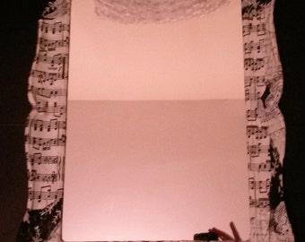 Pretty Musical Black and White Theme Decoupage Mirror