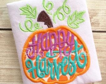 Happy Harvest Halloween Thanksgiving Pumpkin Embroidery Applique First Thanksgiving Fall Top Shirt Tshirt Bodysuit monogrammed pumpkin patch