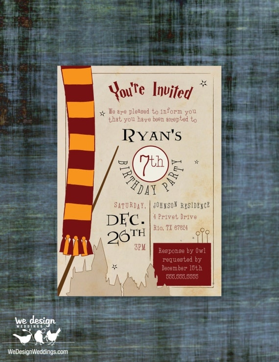 Harry Potter Birthday Party Invitations Printable was amazing invitations layout
