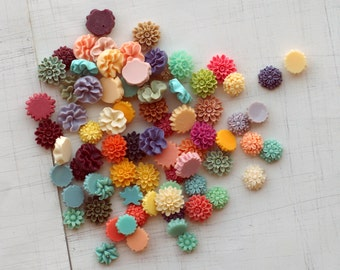 Sample Pack, 65pcs, Various Style Flower Cabochons