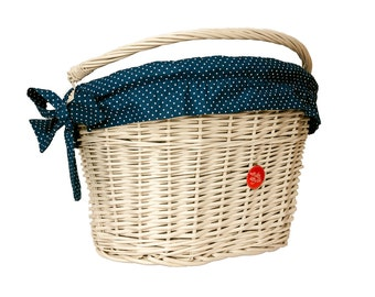 Bicycle Basket Liner, Bike Belle Polka Navy