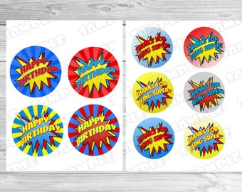 "Superhero circle tags 3"" and 4"" tags INSTANT DOWNLOAD  superhero printable party superhero birthday no personalization superhero signs"