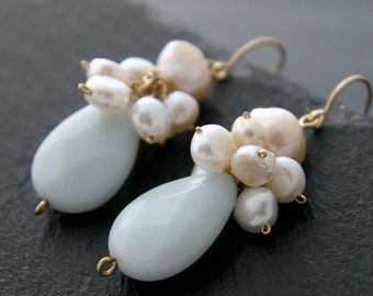 Aqua, Amazonite, Freshwater Pearl, Teardrop Earrings, 14K Gold Fill, Gemstone Briolette, Aquamarine, Pearl Cluster, Wedding Earrings, Flower