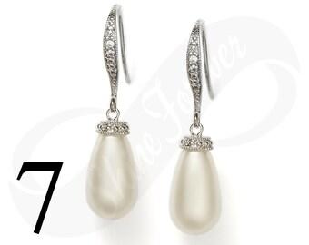 Set of 7 Teardrop Pearl Earrings Bridal Tear drop Pearl Earrings Swarovski Teardrop Pearl Earrings Wedding Teardrop Jewelry Bridesmaid Gift