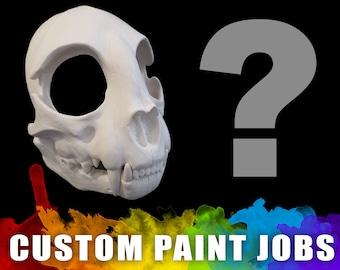Custom Painted - Cat Skull Mask