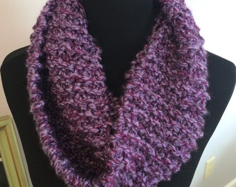 Purple knit infinity scarf