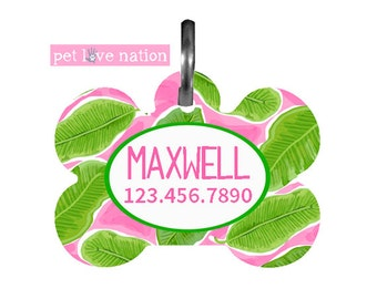 Personalized Pet Tag, Dog Tag, ID Tag, Banana Leaf Pet Tag With Name And Number