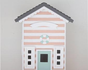 Casita Night Light - Beach Hut - Soft Pink. Handmade. Personalized.
