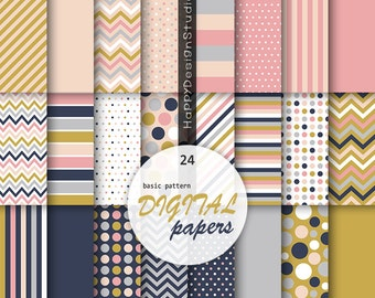 Basic pattern digital papers vavy mustard pink gray wedding colors dots stripe polka dot colorful chevron plain background printable paper
