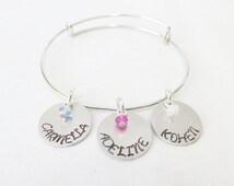 Persoanlized Gifts For Moms, Custom Children's Name and Birthstone Adjustable Bangle Bracelet, Mother's Day Gifts, Gifts For Grandmothers