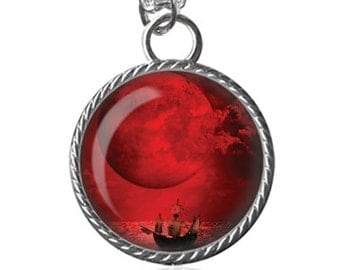 Full Moon Necklace, Blood Red Moon Necklace, Beautiful Scenery Image Pendant Key Chain Handmade