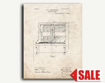 Patent Art - Upright Piano Patent Wall Art Print