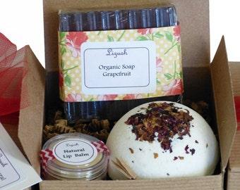 Bath Bomb Gift Set - Natural Soap, Bath Bomb, Lip Balm - All Natural Ingredients - Spa in a box- By Lizush