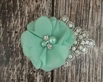 Mint hair clip, flower girl hair clip, rhinestone hair clip, flower hair clip, alligator clip, wedding clip