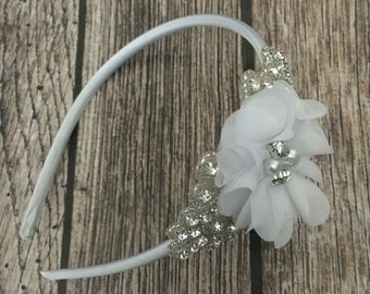 Rhinestone headband, white headband, pearl headband, flower girl headband, wedding headband, dressy headband, formal headband, baby headband
