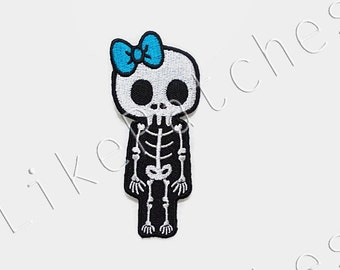Skeleton Skull Bones Halloween Ghost Blue Bow New Sew / Iron On Patch Embroidered Applique Size 4.3cm.x10cm.