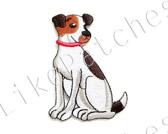 Cute Dog Red Collar New Iron On Patch Embroidered Applique Size 5.3cm.x7.8cm.