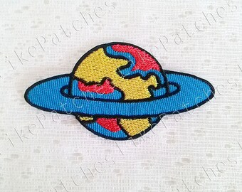 Blue Galaxy, World, Earth New Sew / Iron On Patch Embroidered Applique Size 7.7cm.x4.1cm.