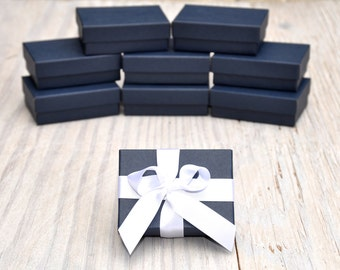 100 Navy Blue 3.25x 2.25x1 Gift Jewelry Boxes Retail Presentation with Cotton Fill